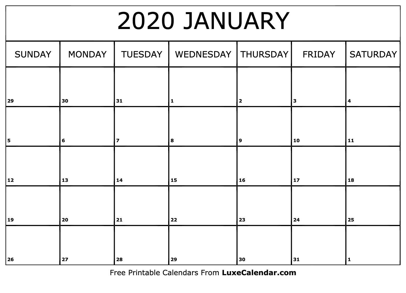 January 2020 Calendar Template | Calendar Template, Calendar  Editable Baptist Calendar 2020 Printable