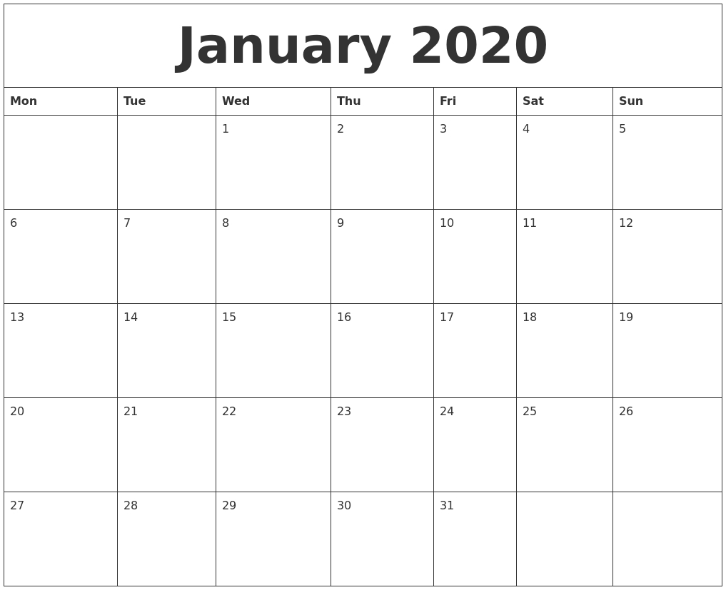 January 2020 Free Online Calendar  Free Online Calendars 2020 Printable