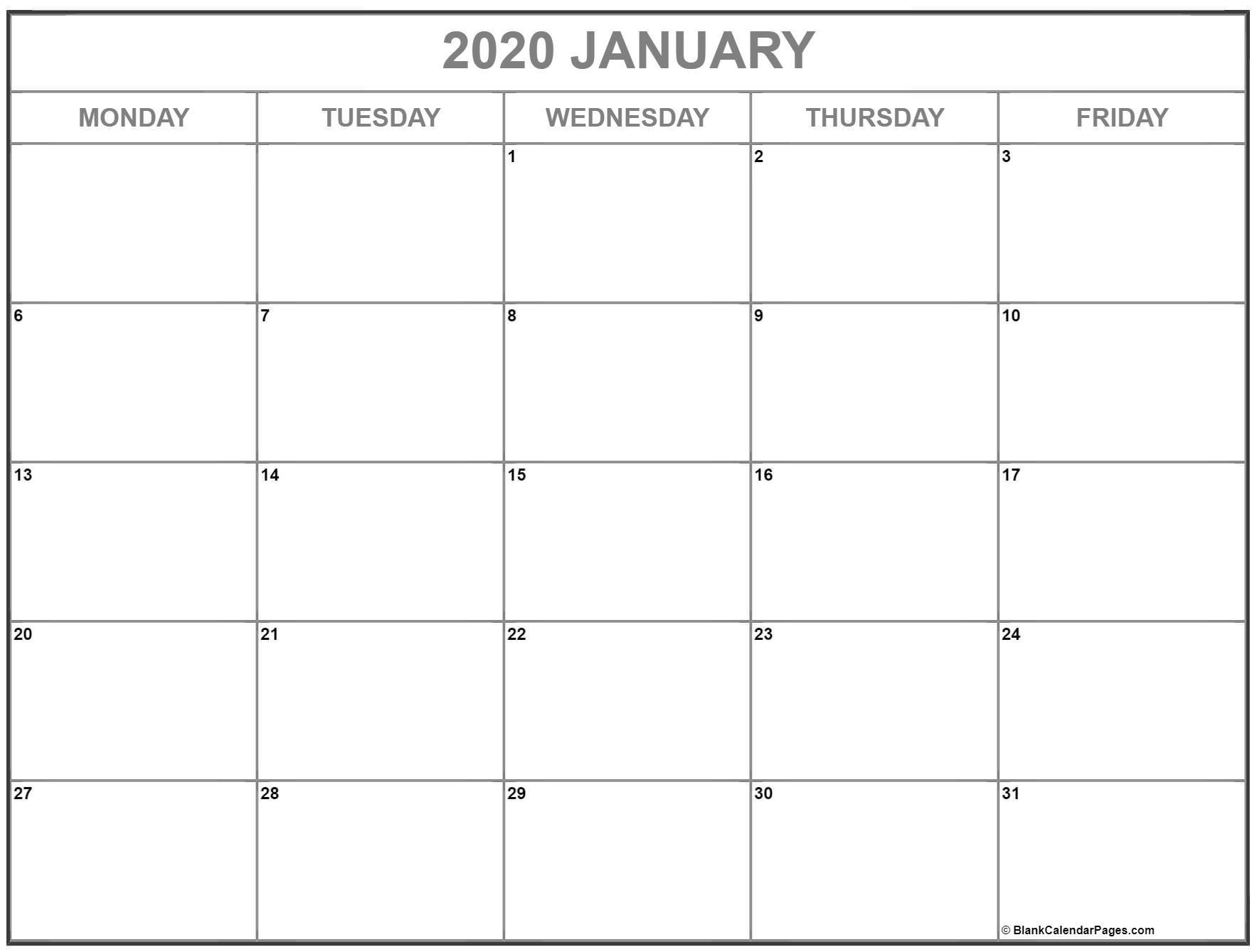 January 2020 Monday Calendar | Monday To Sunday  Monday To Sunday Calendar Template