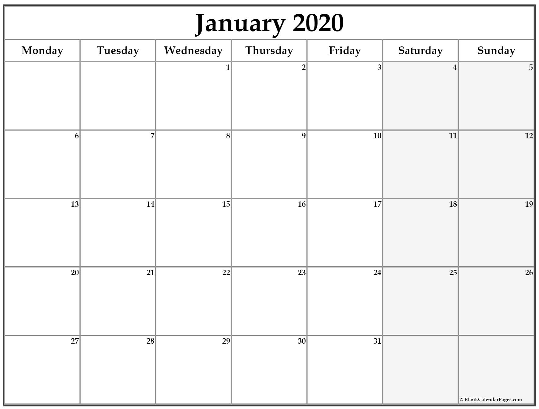 January 2020 Monday Calendar | Monday To Sunday  Monday To Sunday Calendar Template