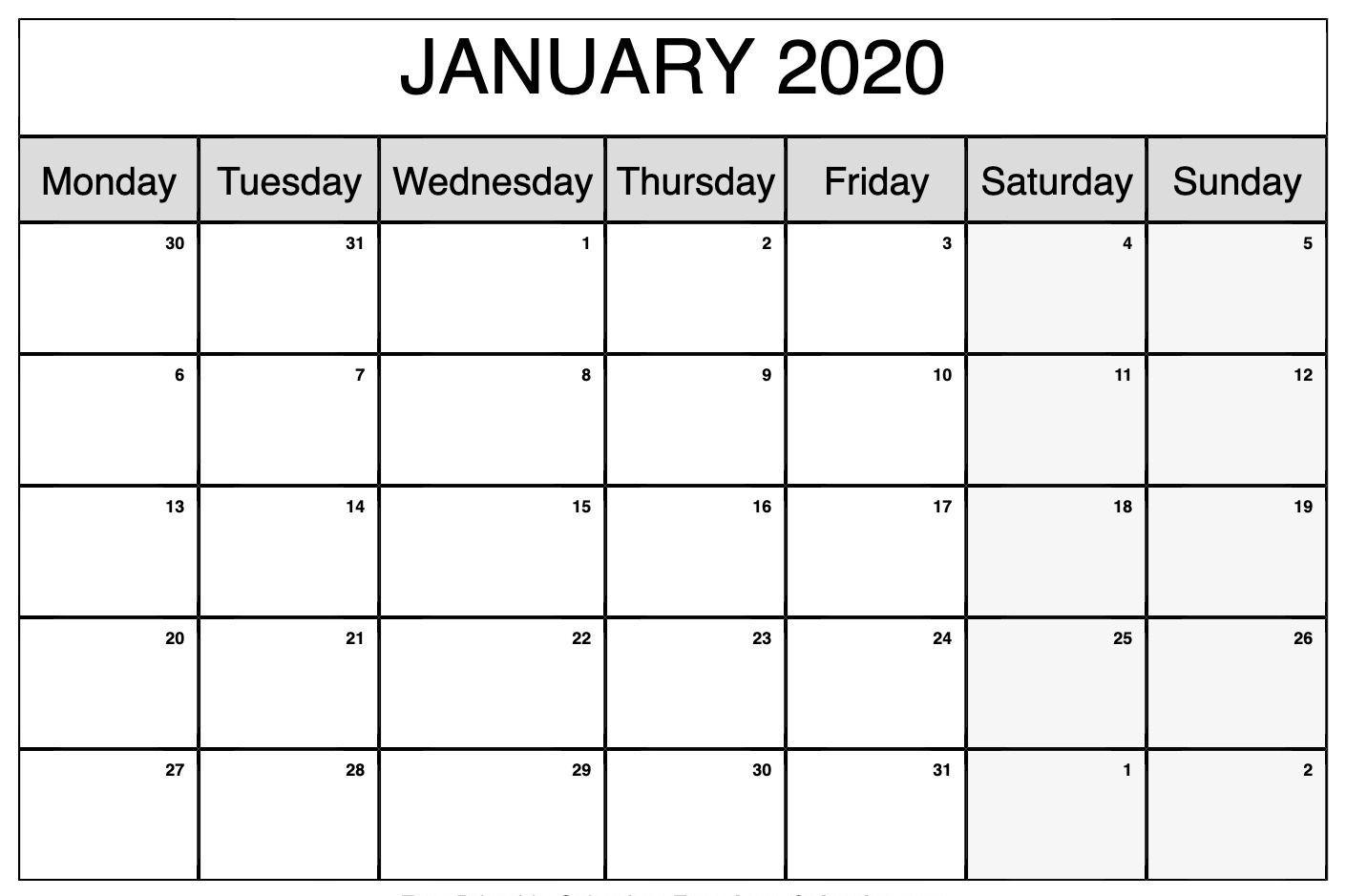 January 2020 Monthly Calendar – Plan Jan Month With Holidays  Editable Baptist Calendar 2020 Printable