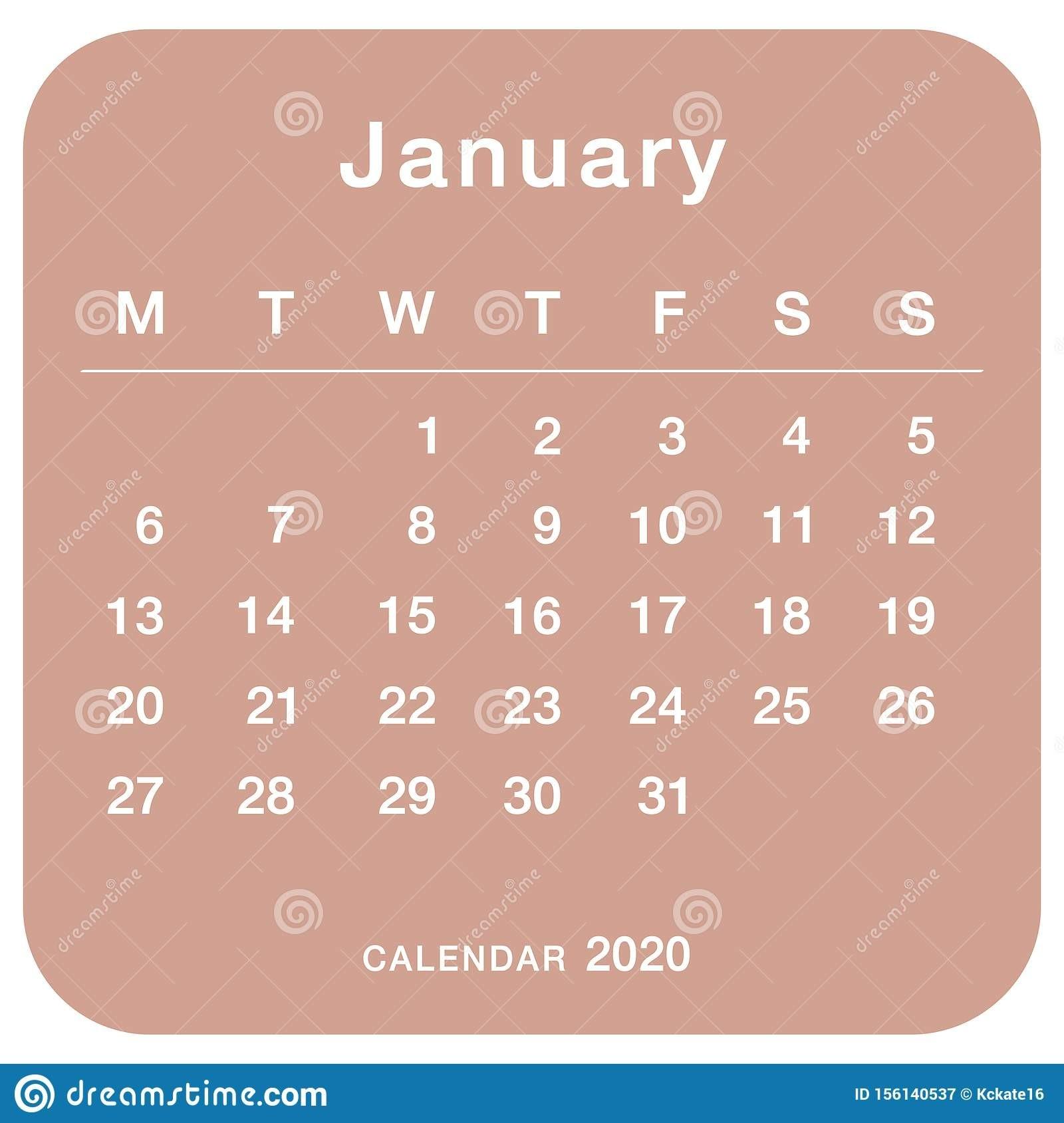January 2020 Planning Calendar . Simple January 2020  2020 Calendar Simple