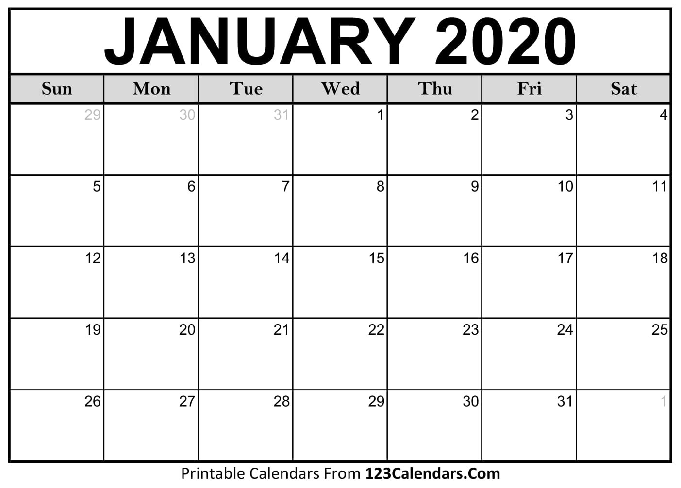 January 2020 Printable Calendar | 123Calendars  2020 Printable Calendar By Month