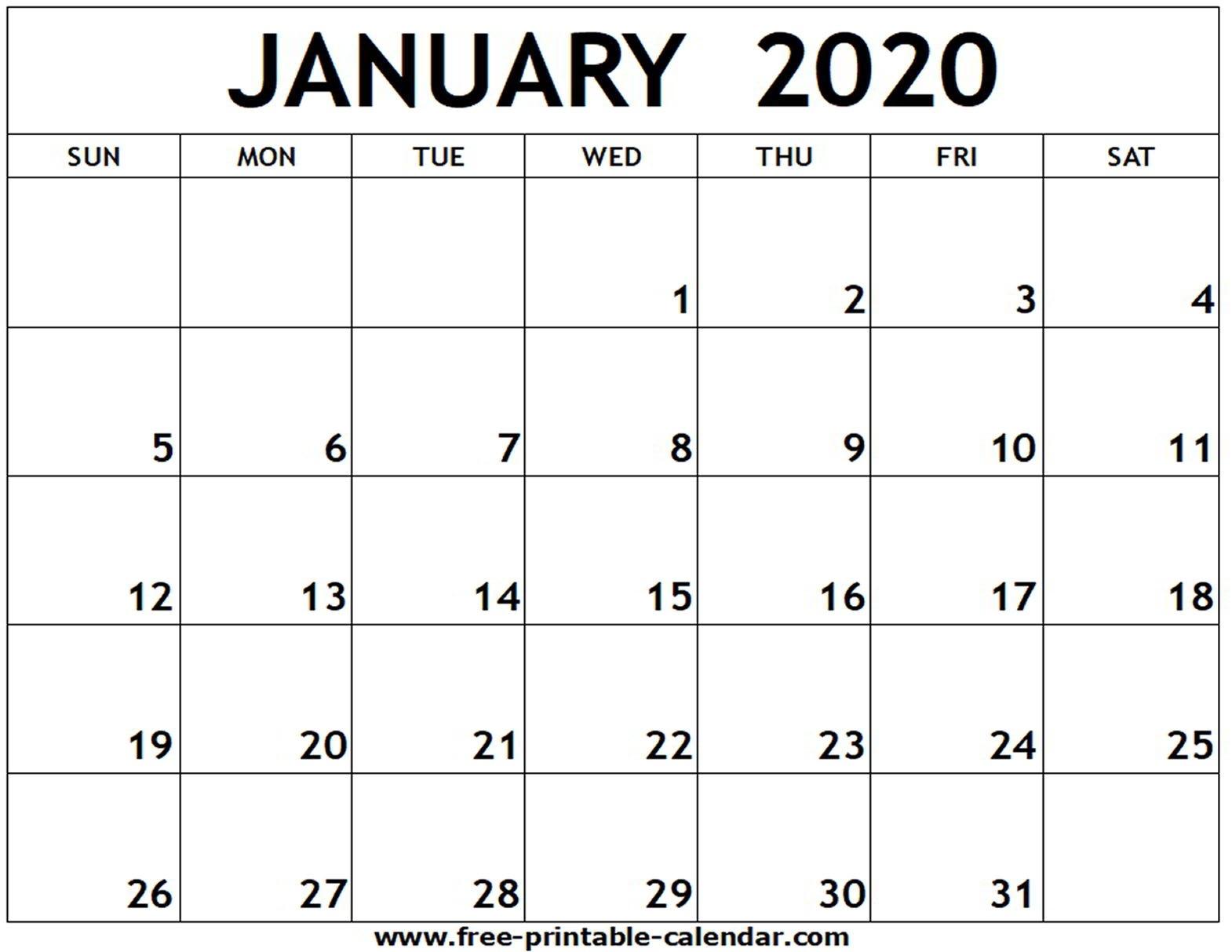 January 2020 Printable Calendar - Free-Printable-Calendar  Calendar Template 2020 Printable Free
