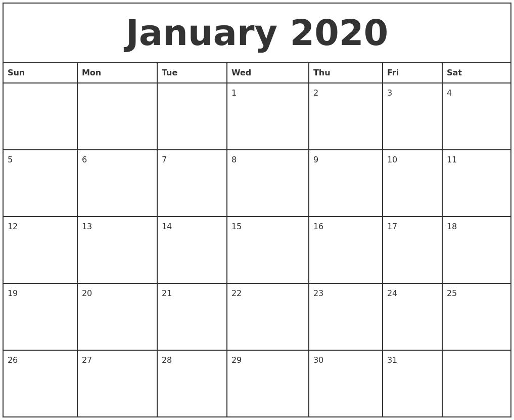 January 2020 Printable Monthly Calendar  Monthly Calendar 2020