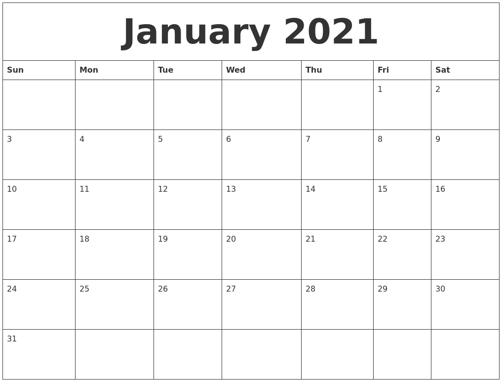 January 2021 Monthly Printable Calendar  2021 Monthly Calendar Printable Pdf