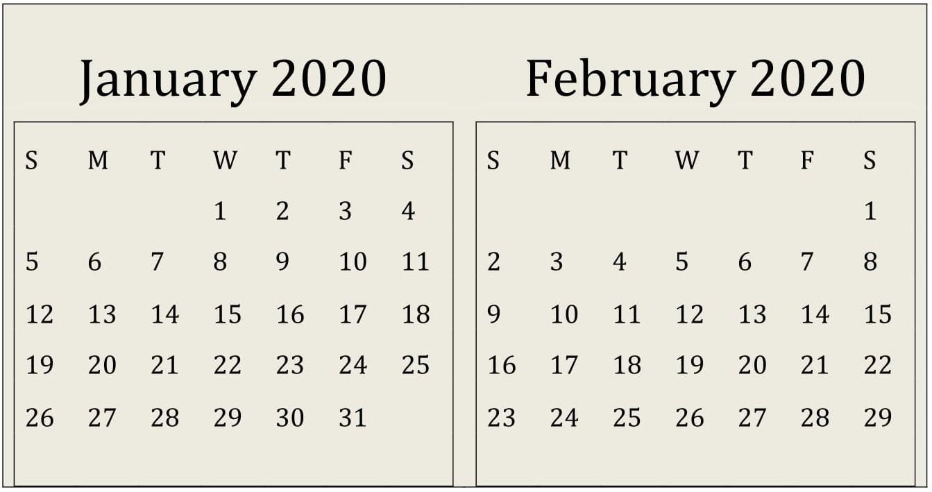 January February 2020 Calendar Print Online - Latest  Free Online Calendars 2020 Printable