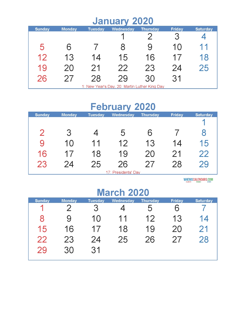 January February March 2020 Calendar 3 Months Per Page  Free Printable 3 Month Calendar Template