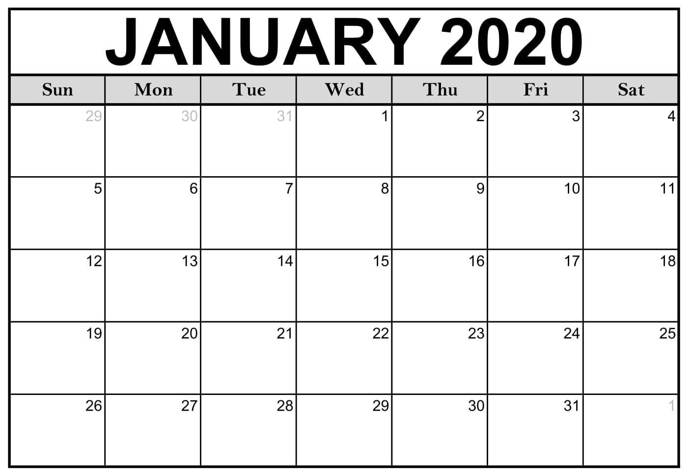 January Printable Calendar 2020 – Blank Templates – 2020  Blank Calendar 2020 Printable Monthly