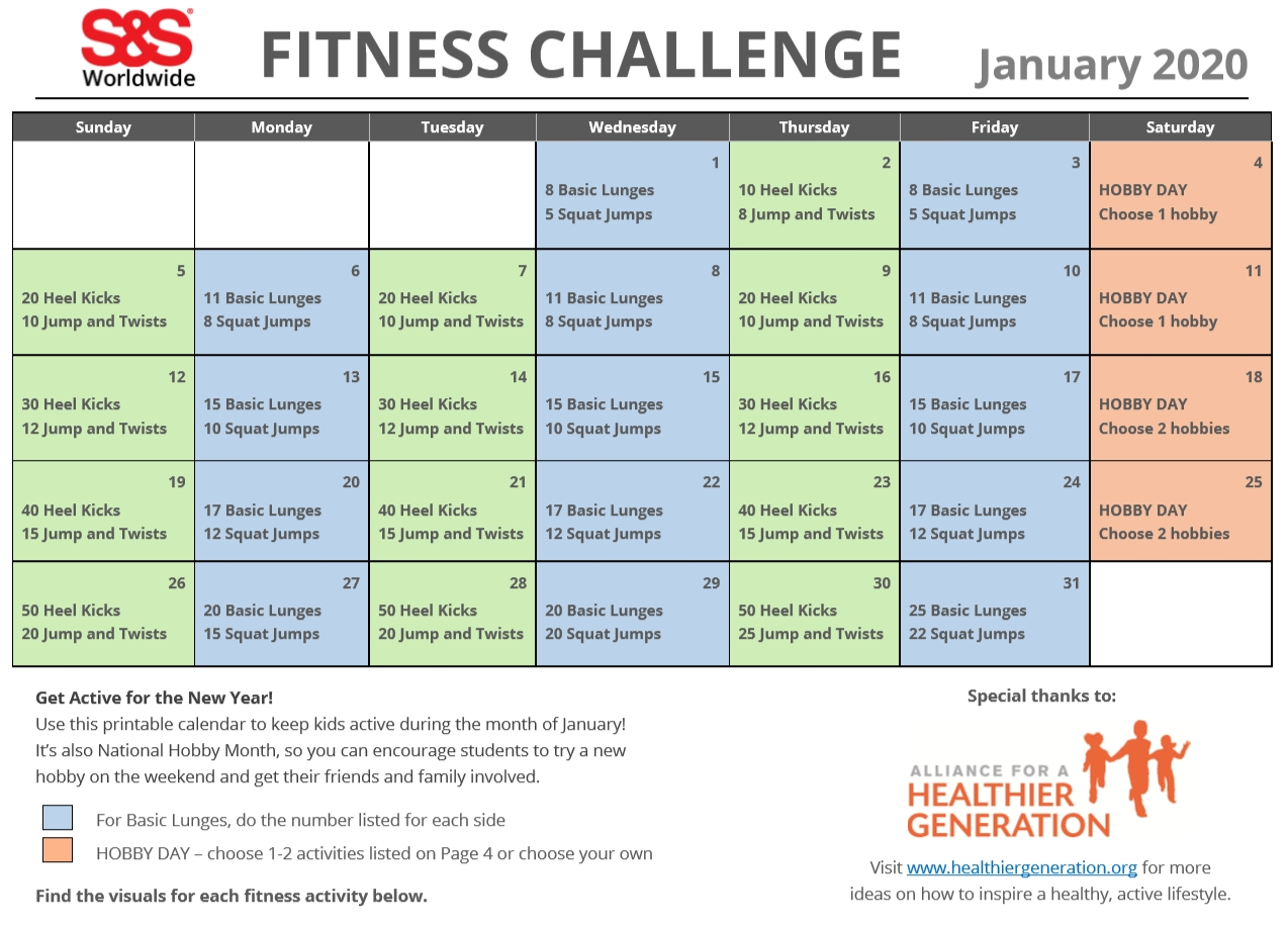 January Printable Fitness Challenge Calendar - S&s Blog  30 Day Fitness Challenges Printables
