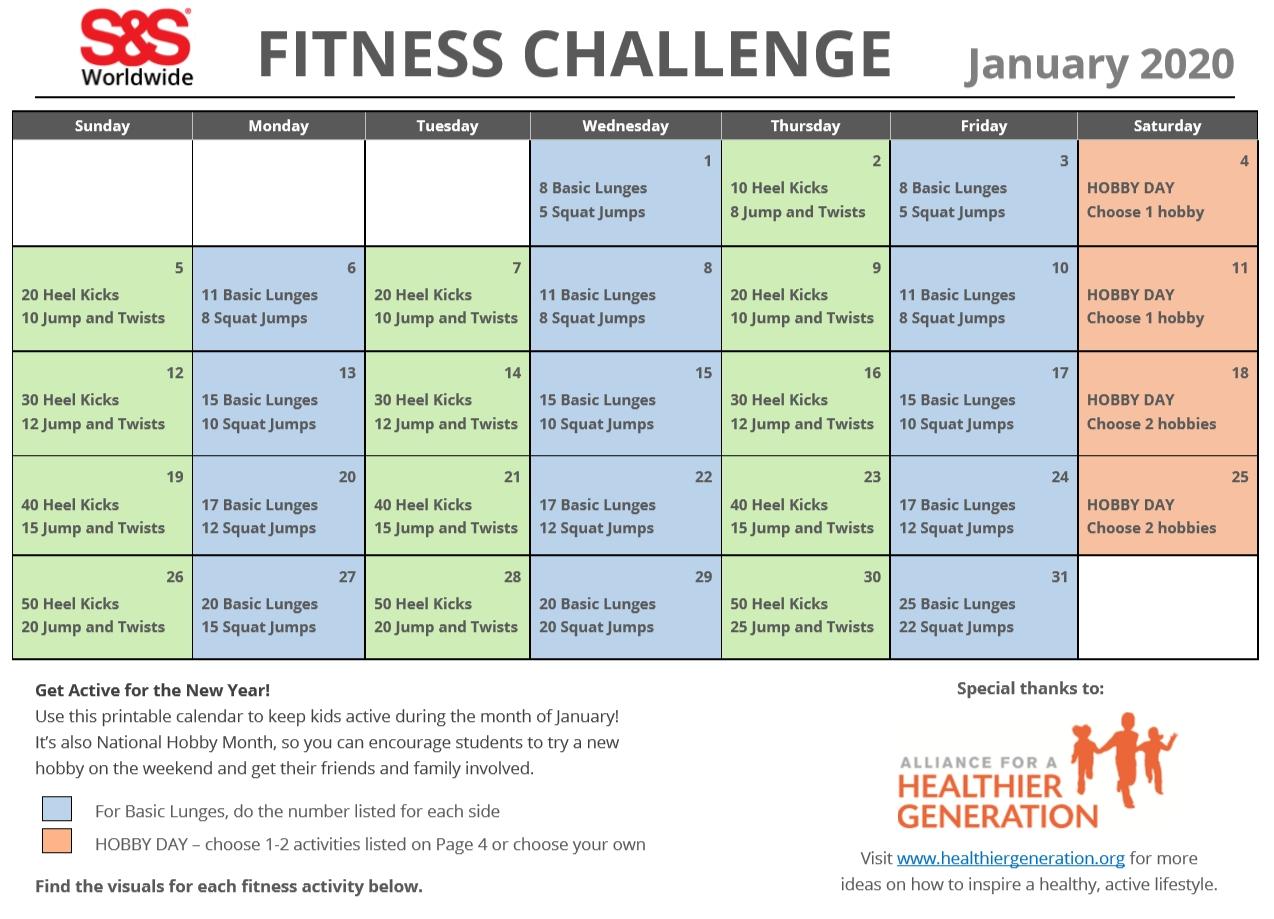 January Printable Fitness Challenge Calendar - S&s Blog  Exercise Challenge Printable