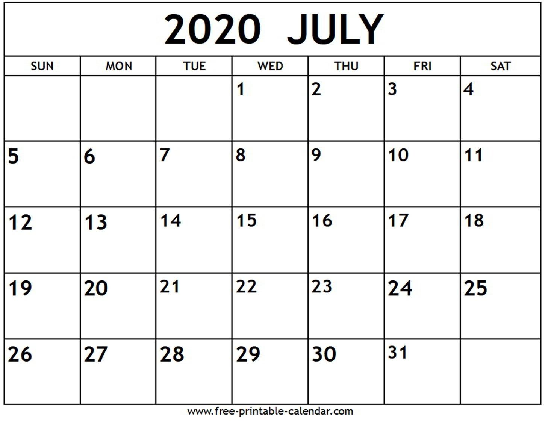 July 2020 Calendar - Free-Printable-Calendar  2020 Calendar Template
