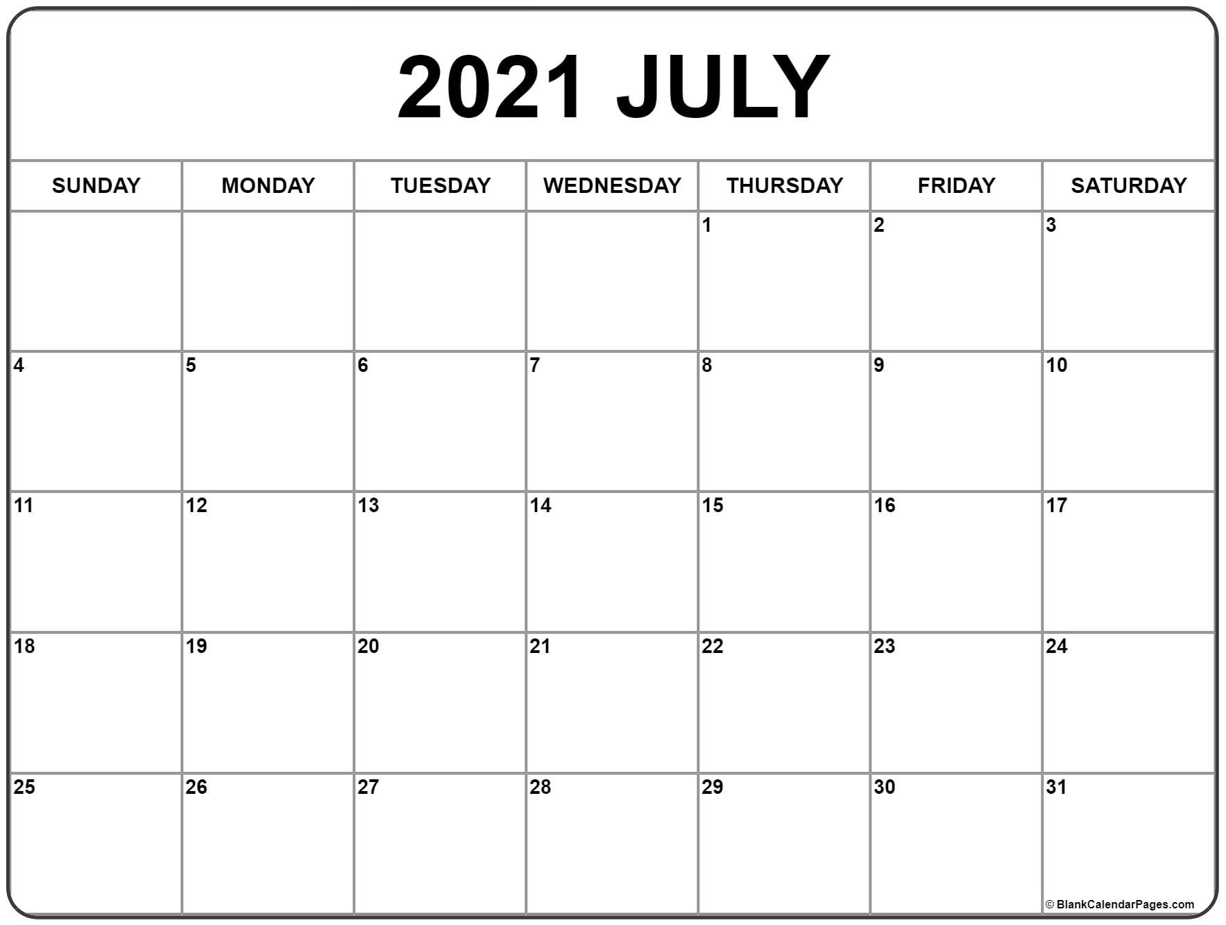 July 2021 Calendar | Free Printable Monthly Calendars  Fill In The Blank Calendar 2021