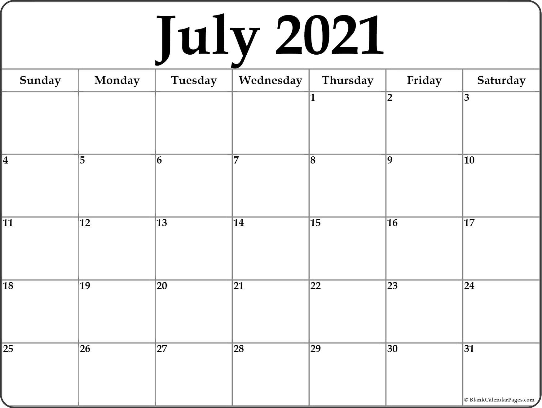 July 2021 Calendar | Free Printable Monthly Calendars  July 2021 12 Months