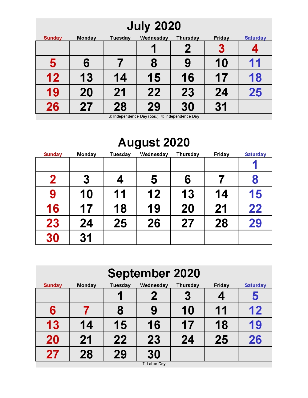July August September 2020 Calendar 3 Months Per Page  2020 Calendar Template Free 3 Months Per Page