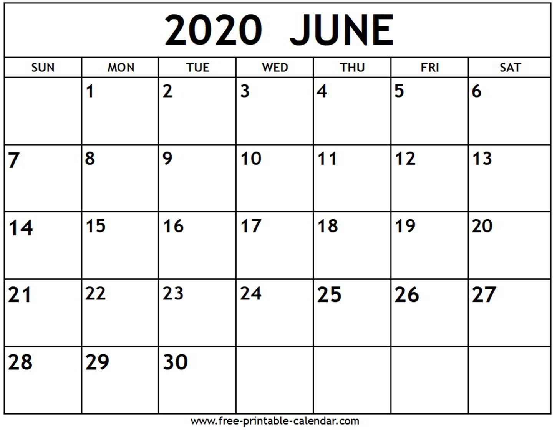 June 2020 Calendar - Free-Printable-Calendar  Printable Calendar 2020