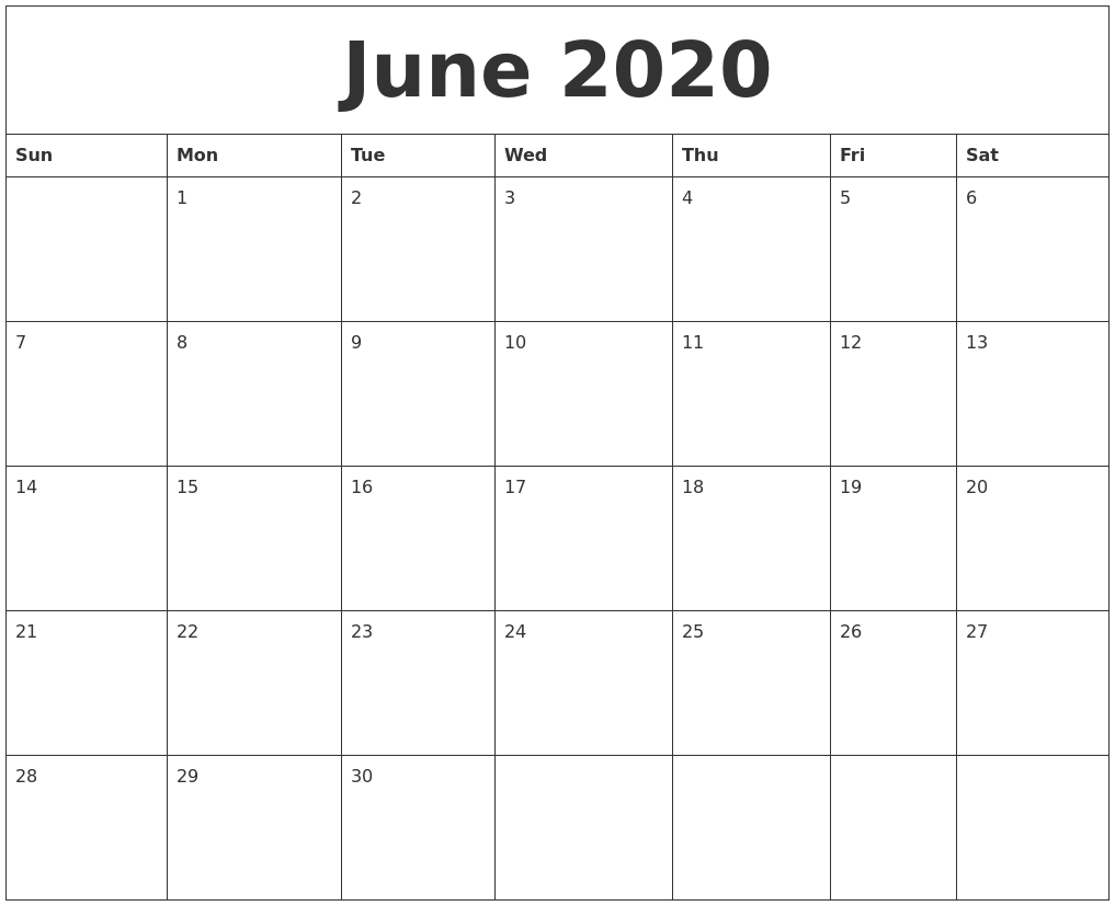 June 2020 Large Printable Calendar  2020 Free 12 Month Printable Monthly Calendar