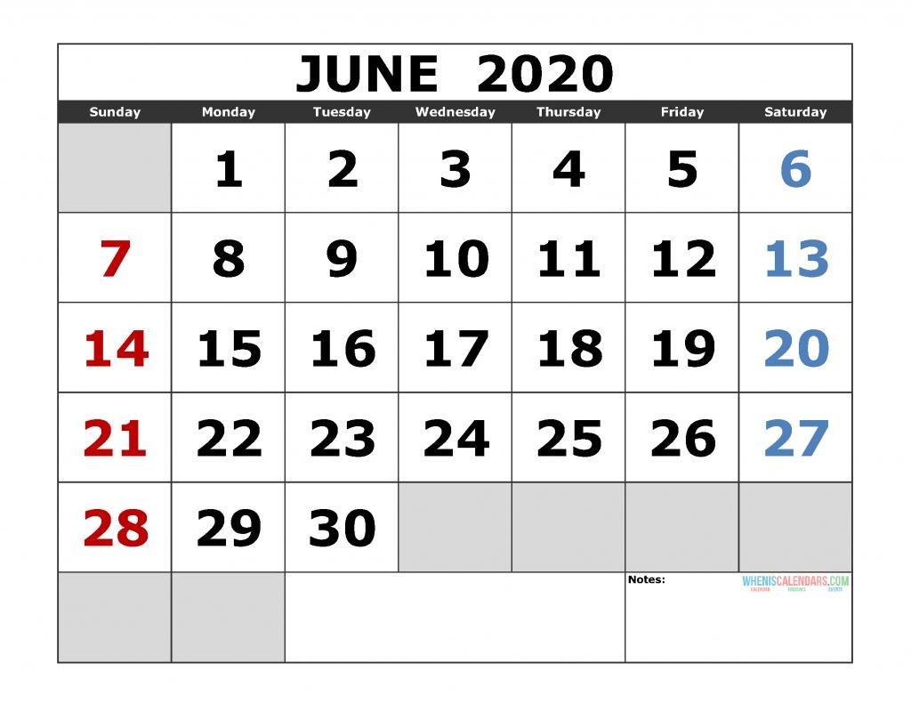 June 2020 Printable Calendar Template Excel, Pdf, Image [Us  2020 Calendar Template Free 3 Months Per Page