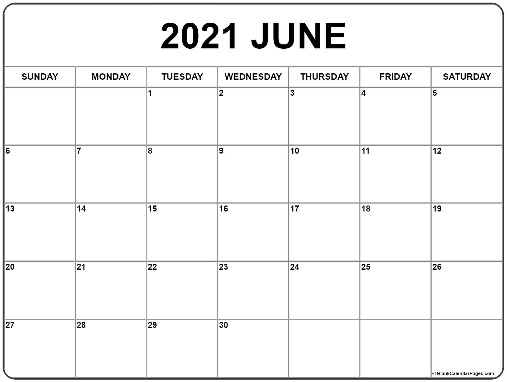 June 2021 Calendar | Free Printable Monthly Calendars  Free Monthly Calendar Template 2021