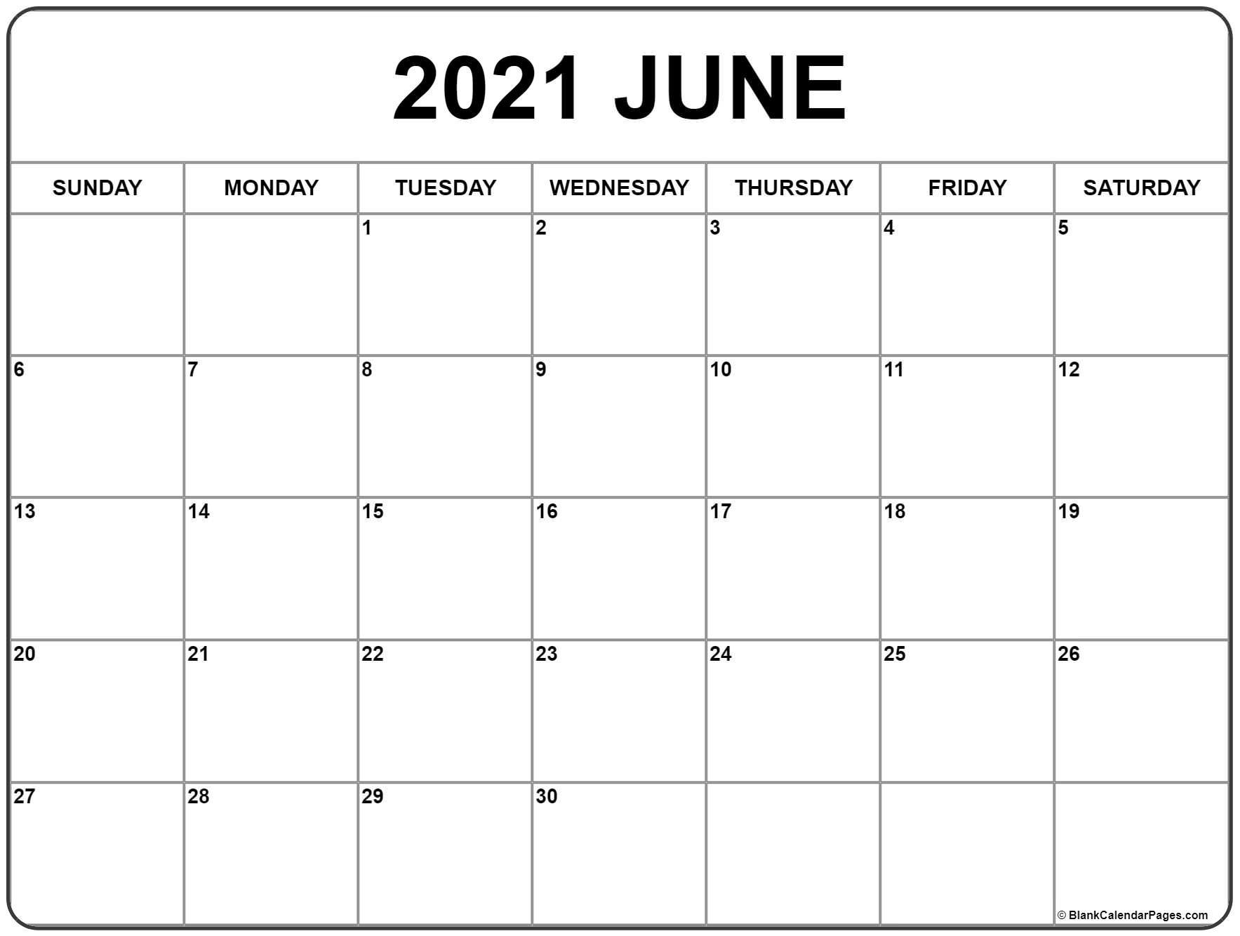 June 2021 Calendar | Free Printable Monthly Calendars  Free Monthly Calendar Template 2021