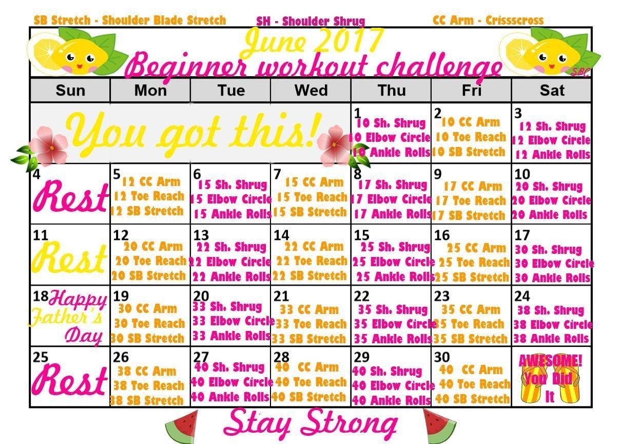 June Fitness Calendars & Exercise Challenges  Fitness Challeng Caladar