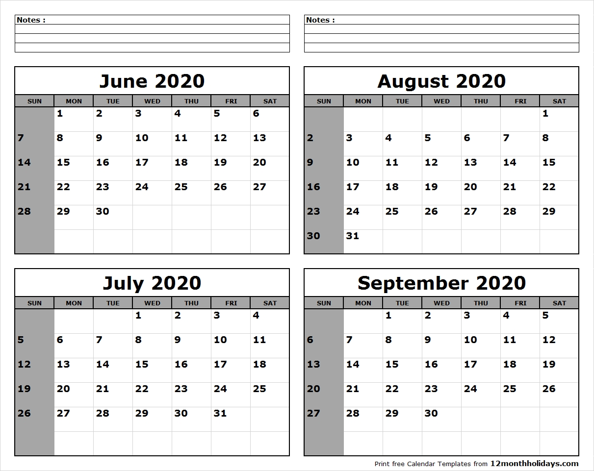 June-July-August-September-2020-Calendar-To-Print - All 12  June July August September 2020 Calendar