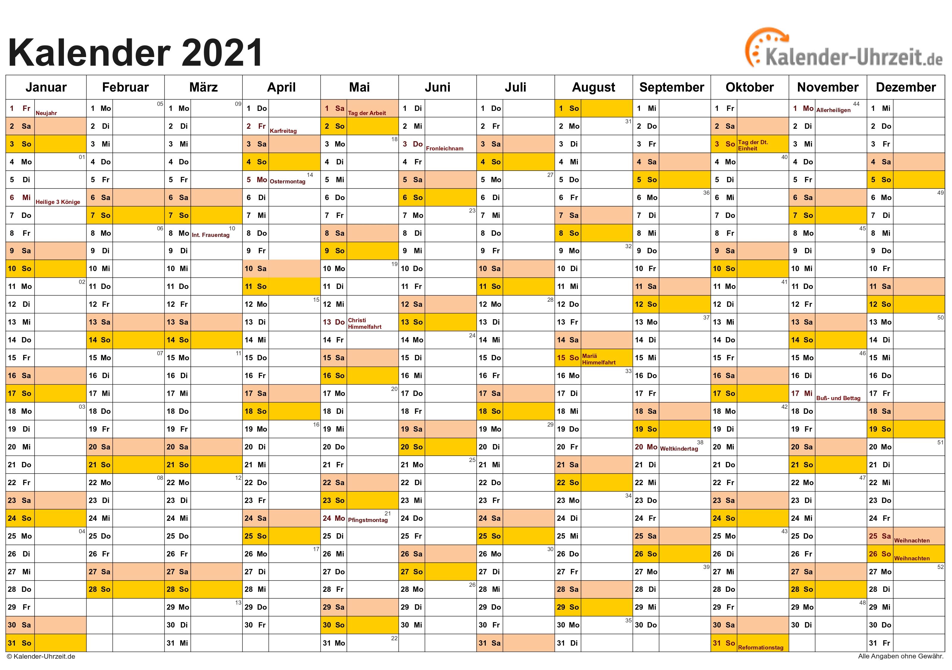 Kalender 2021 Zum Ausdrucken - Kostenlos  Kalender 2021 Zum Ausdrucken Kostenlos