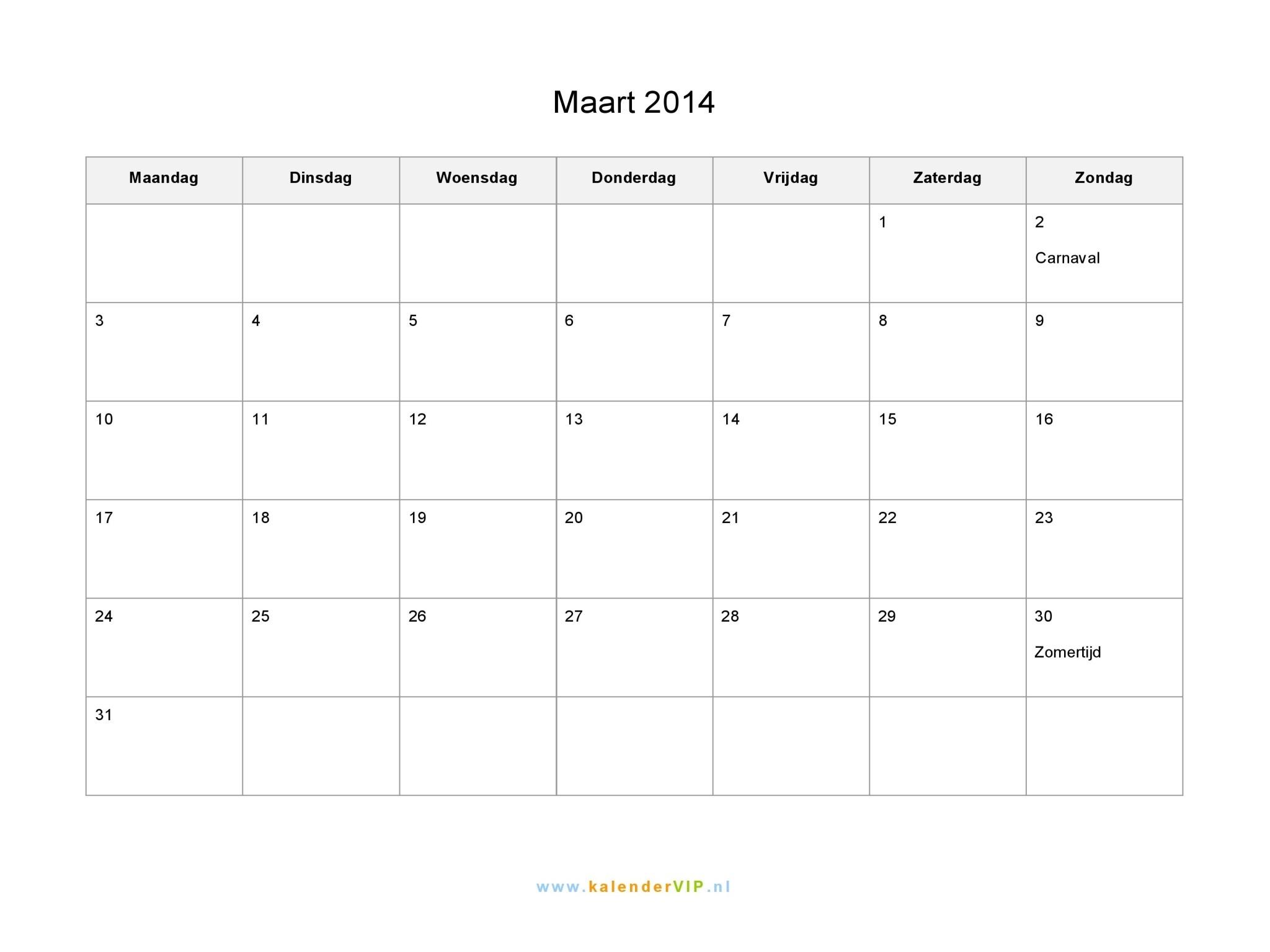 Kalender Maart 2014 Met Weeknummers En Feestdagen In Excel Pdf  Kalender Maart 2020