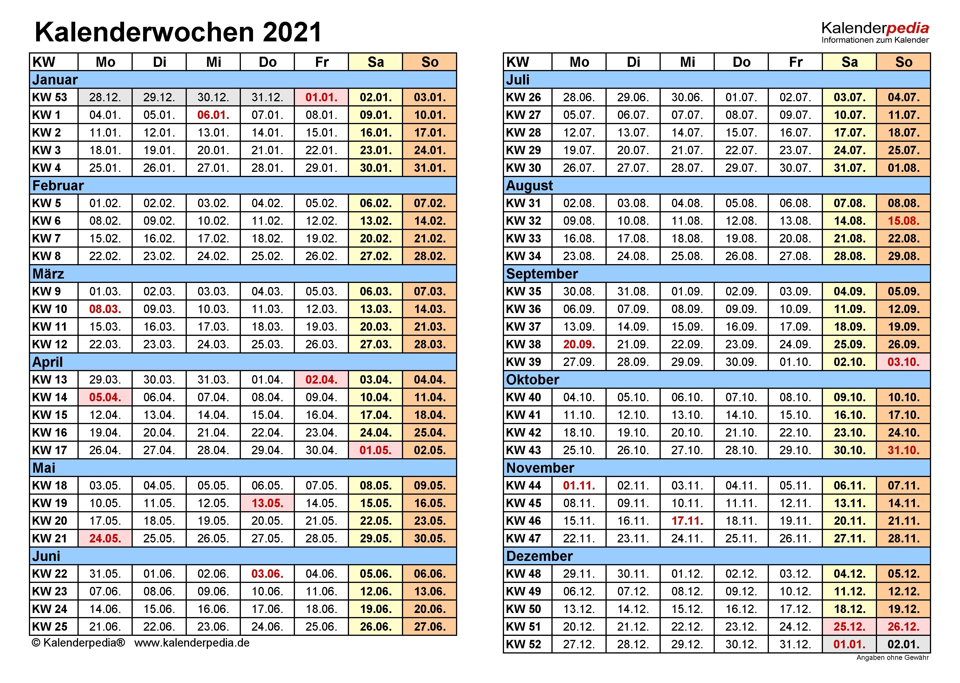Kalenderwochen 2021 Mit Vorlagen Für Excel, Word & Pdf  50 Kalenderwoche 2021