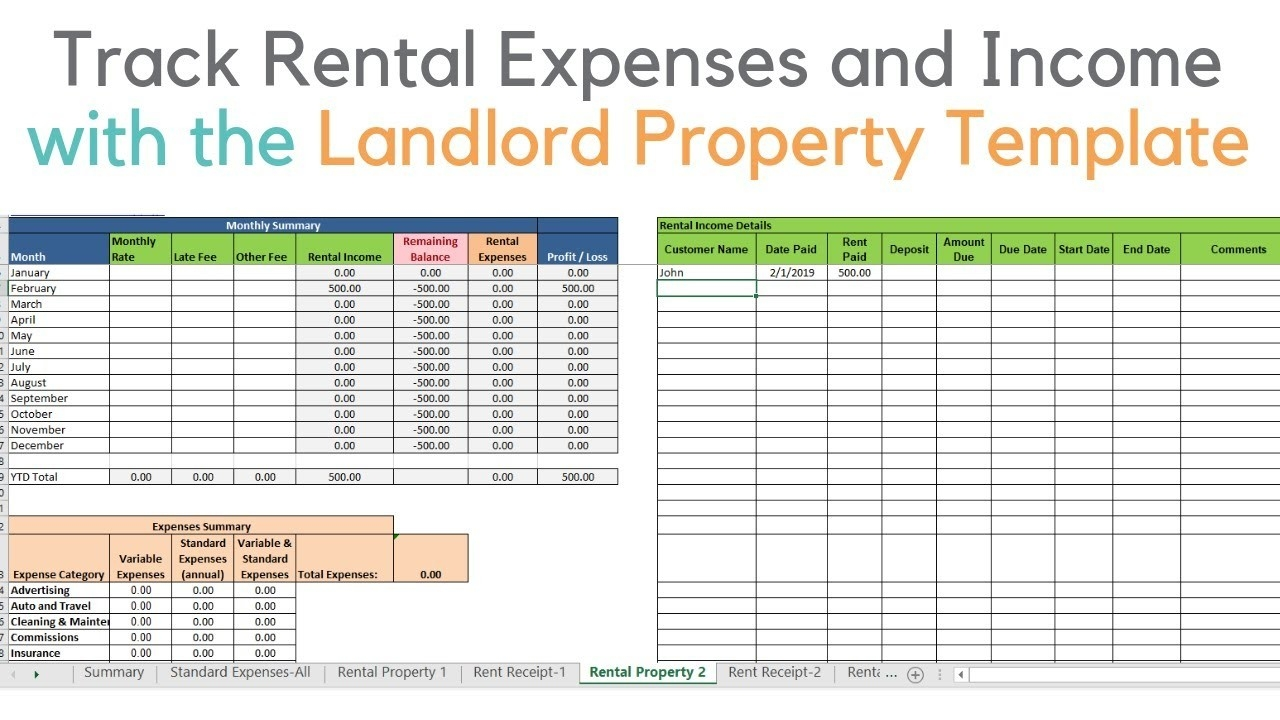 Landlord Template Demo, Track Rental Property In Excel  Paid In And Out Spread Sheet