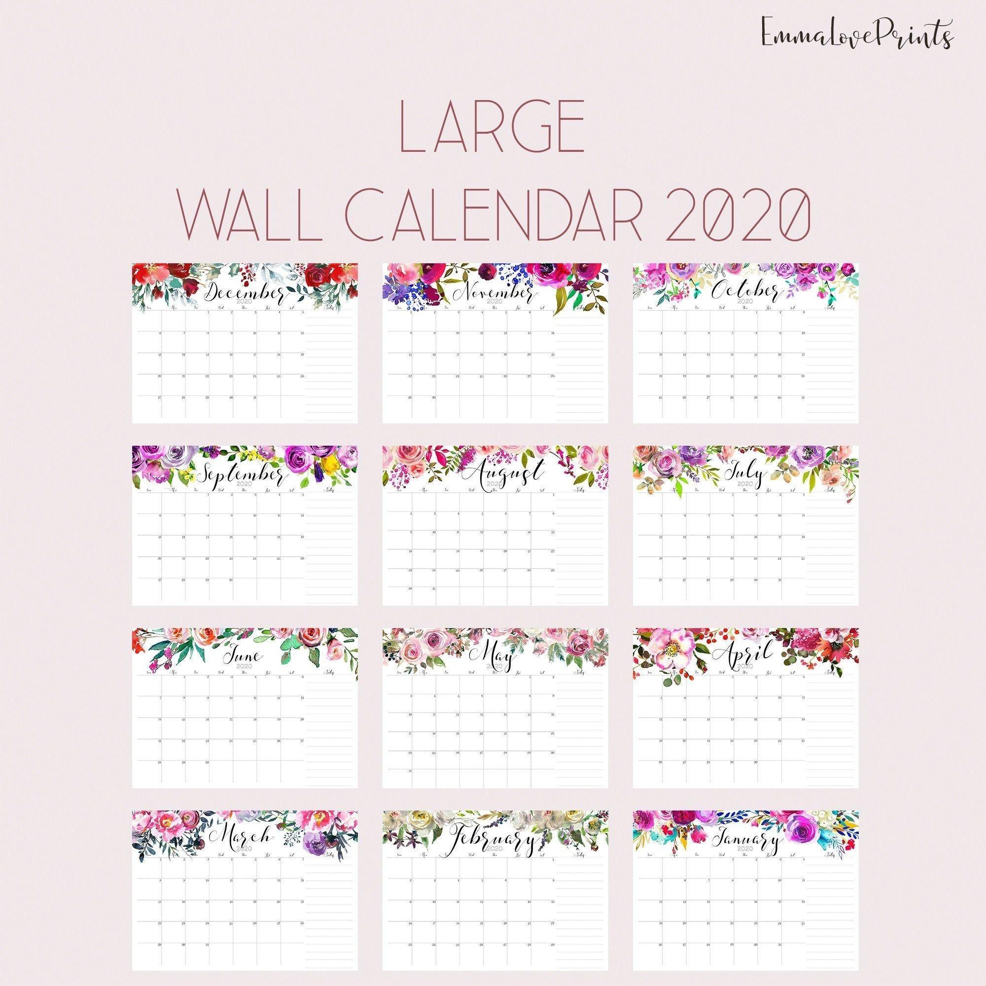 Large Wall Calendar 2020, Watercolor Calendar, A3 Calendar  A3 Calendar 2020