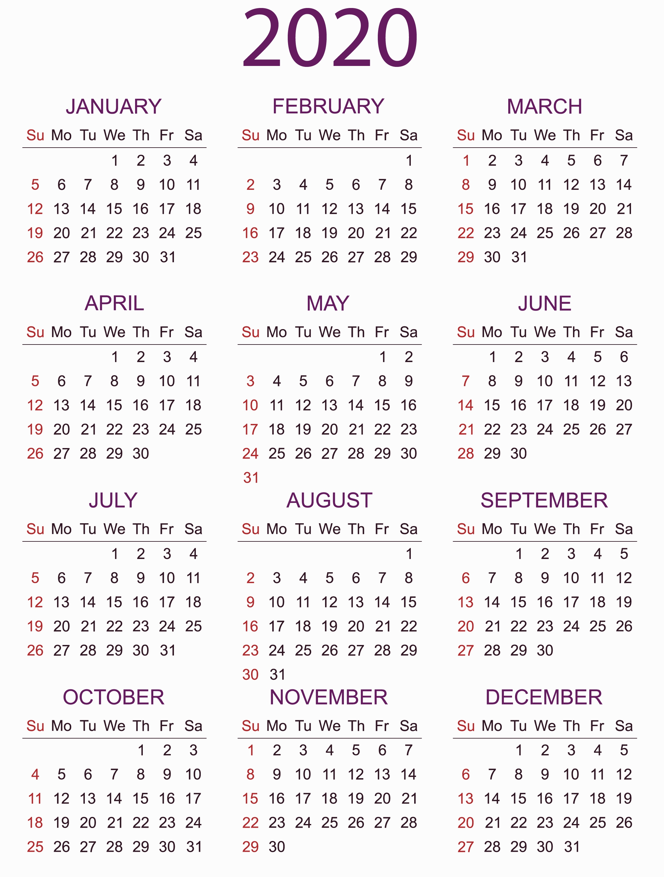 Large Yearly Calendar 2020 With Notes Pdf - Set Your Plan  Yearly Calendars 2020