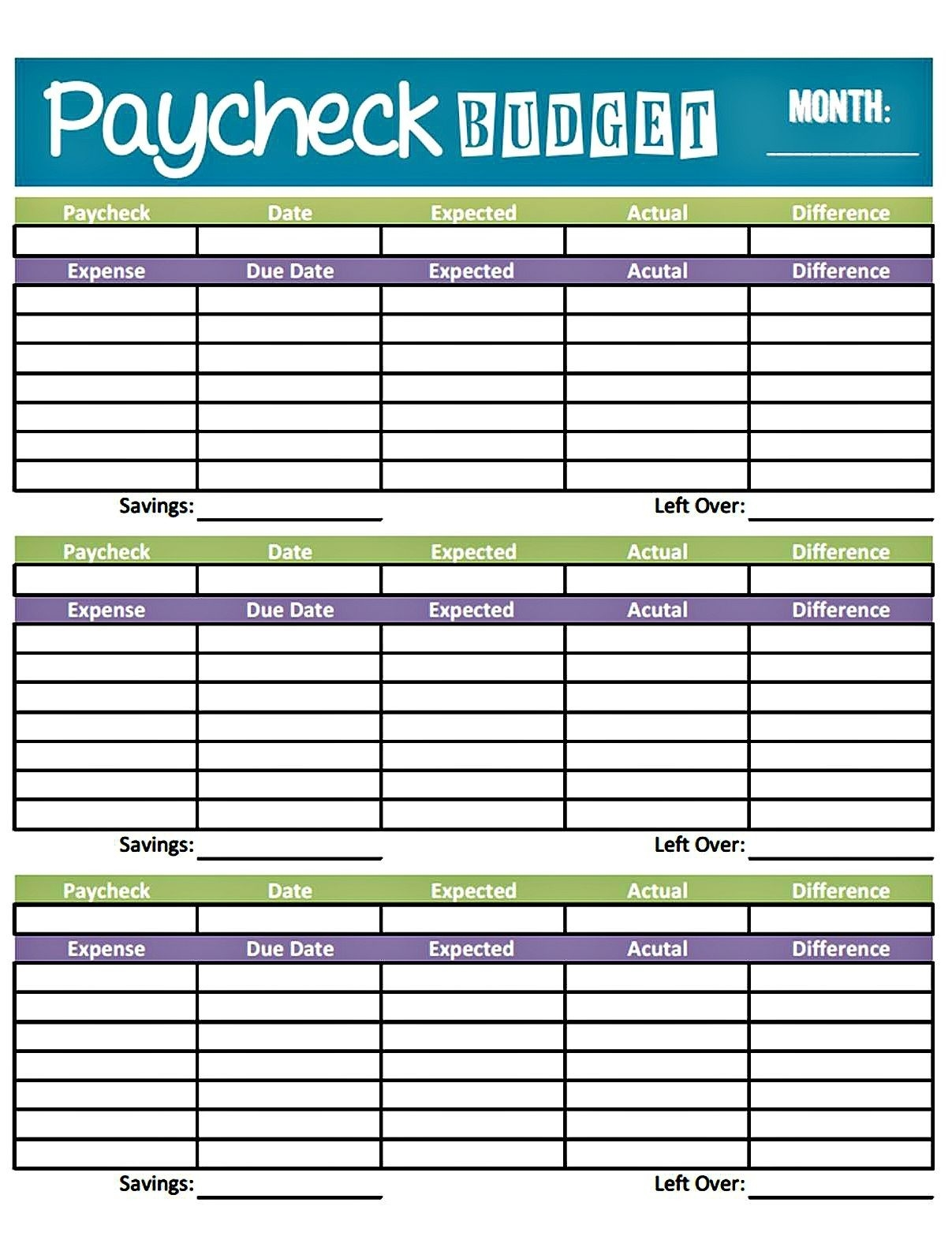 Livin' Paycheck To Paycheck - Free Printable Budget Form  Weekly Bill Paying Worksheet