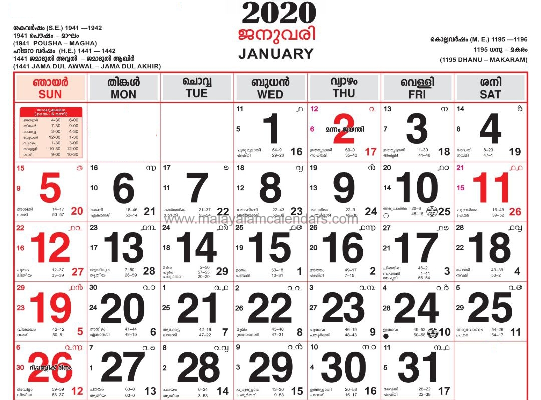 Malayalam Calendar January 2020 – Malayalamcalendars  Malayalam Calendar 2020