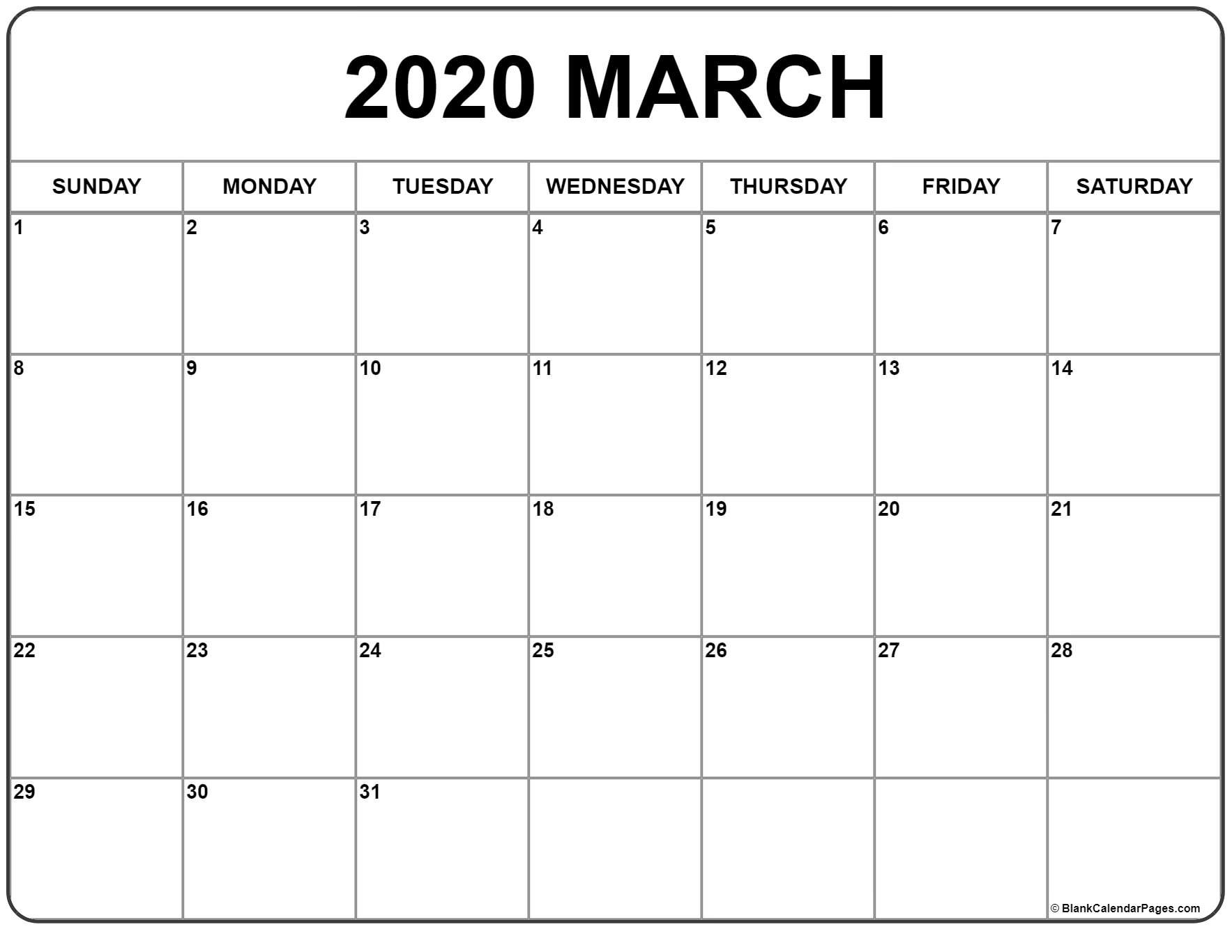 March 2020 Calendar | Free Printable Monthly Calendars  Calendar Printable 2020