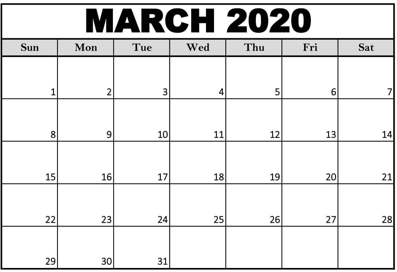 March 2020 Calendar Printable With Notes Excel Size - Set  Full Size Printable Calendar 2020