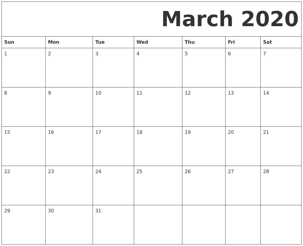 March 2020 Free Printable Calendar  Calendar 2020 Free Printable