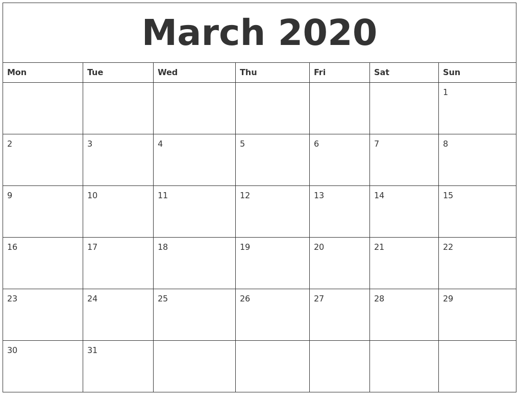 March 2020 Free Printable Weekly Calendar  Free Printable Monthly Calendar March 2020