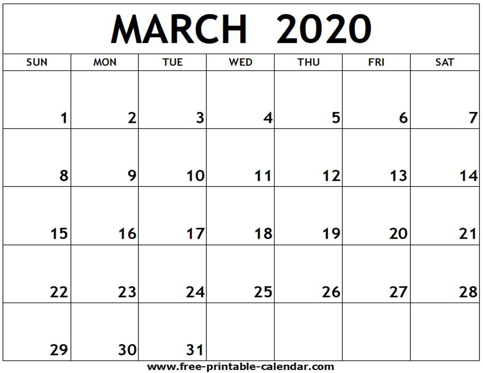 March 2020 Printable Calendar - Free-Printable-Calendar  Blank Calendar 2020 Printable Monthly