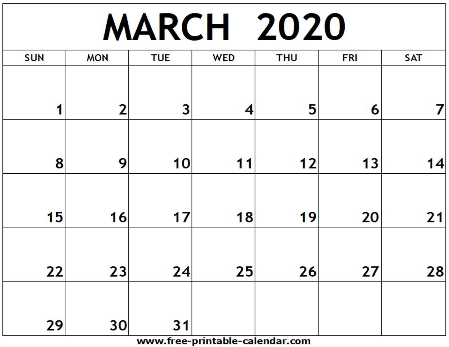 March 2020 Printable Calendar - Free-Printable-Calendar  Blank Calendar 2020