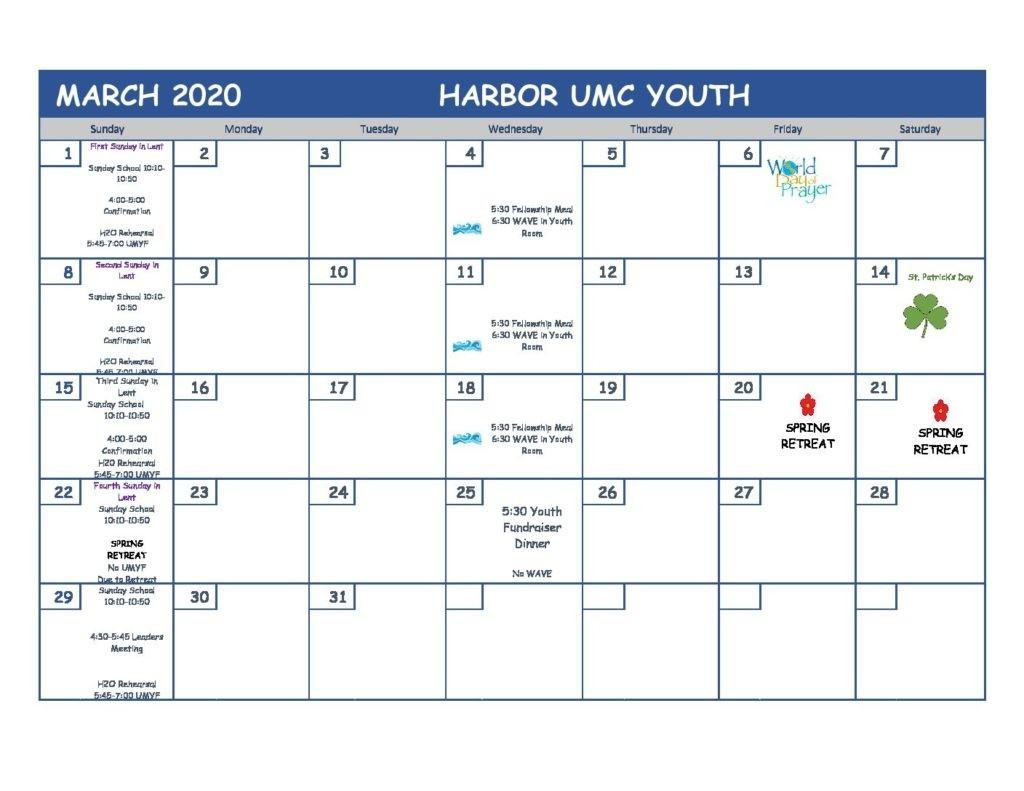 March 2020 Youth Ministry Calendar - Harbor United Methodist  United Methodist Calendar 2020