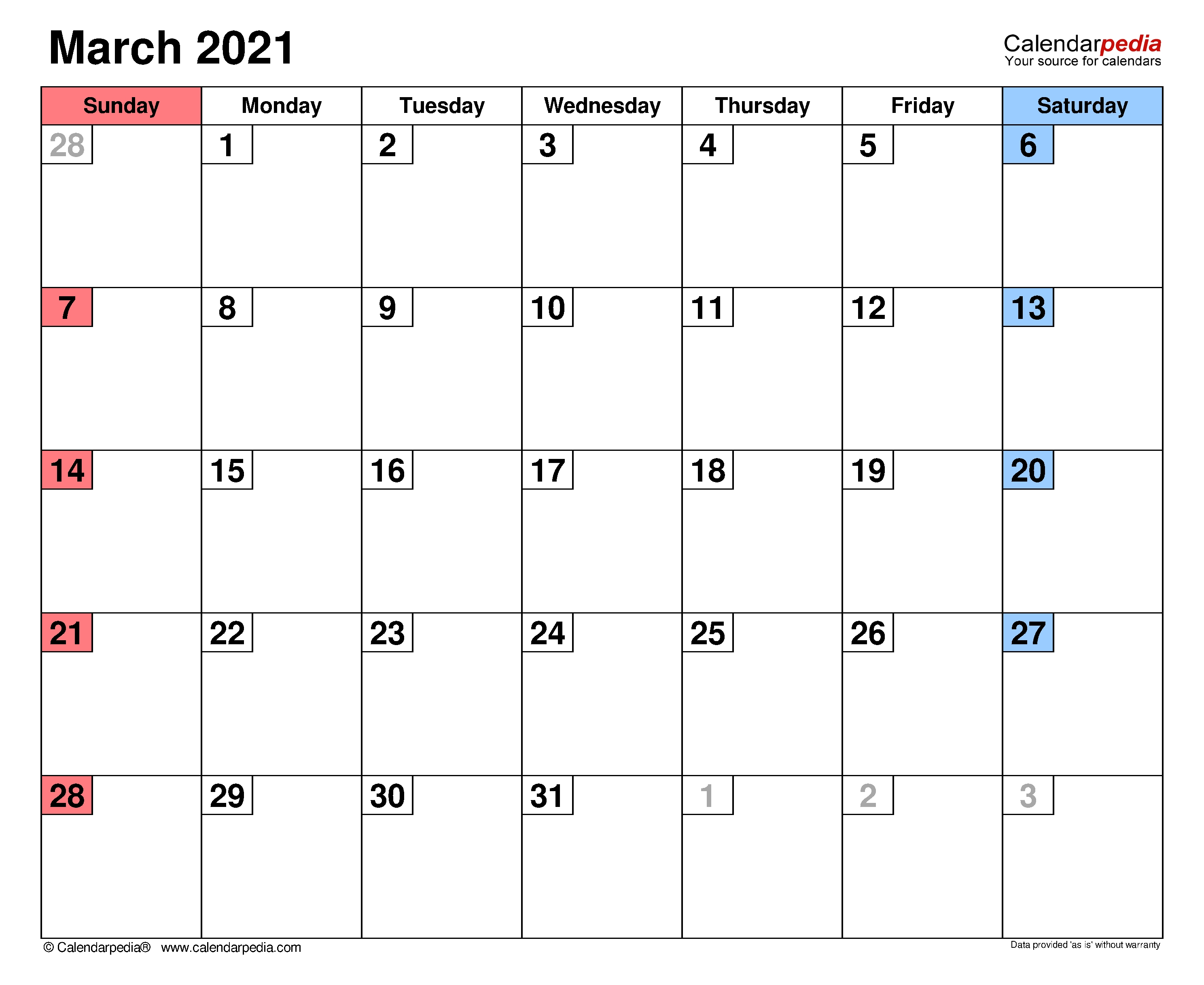 March 2021 - Calendar Templates For Word, Excel And Pdf  2021 Printable Free Attendance Tracker