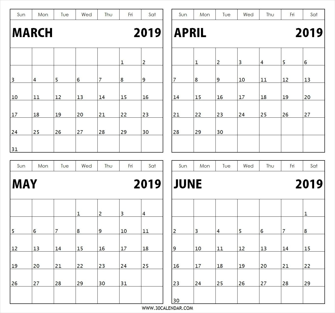 March April May June 2019 Calendar | Calendar Template  Blank Calendar 4 Months