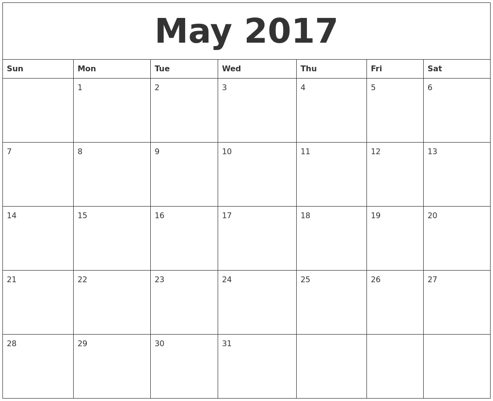 May 2017 Printable Calendar Template, Holidays, Excel & Word  Printable Calendar 2017 Word