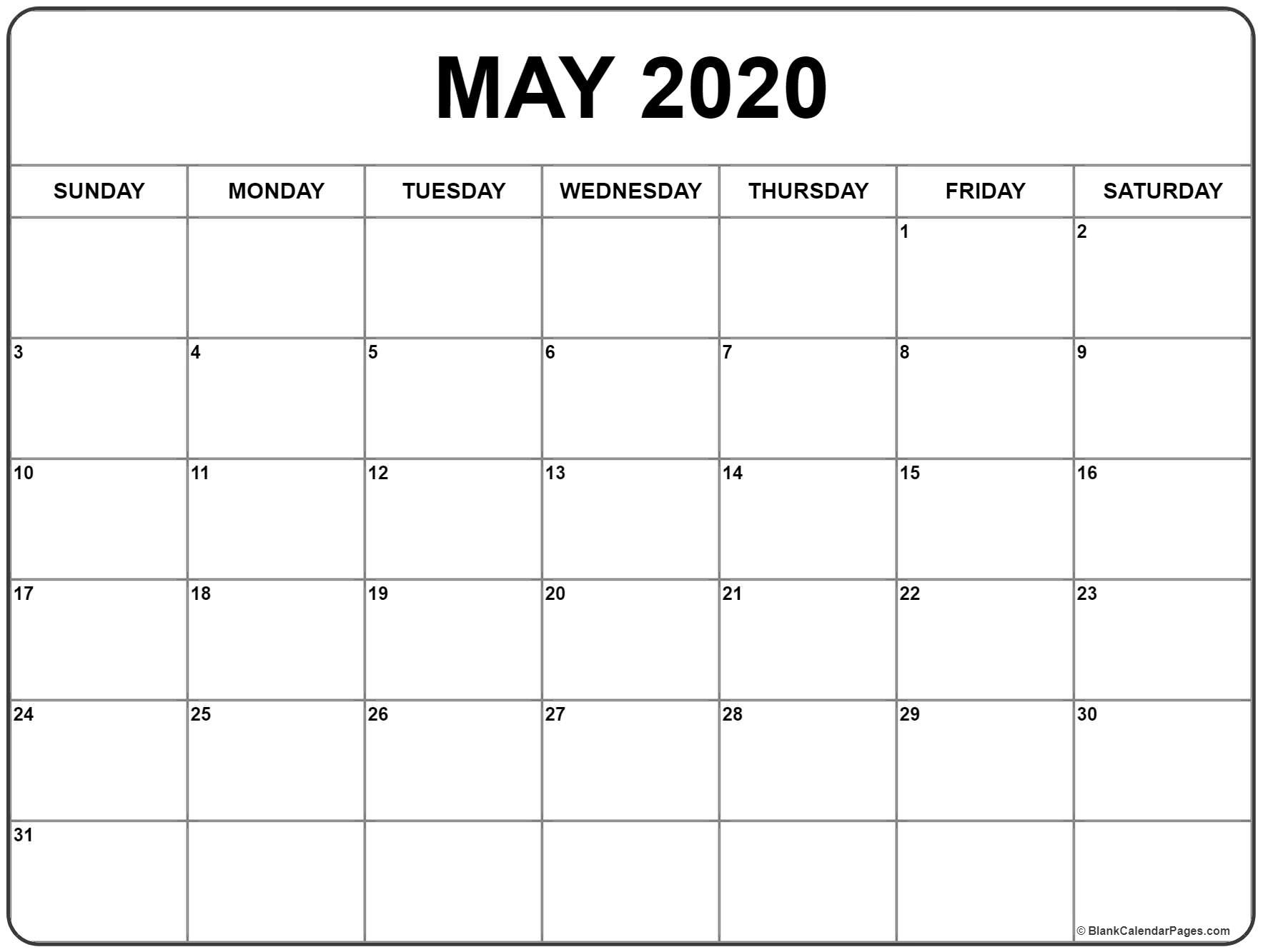 May 2020 Calendar | Free Printable Monthly Calendars  Calendar Templates 2020 Printable