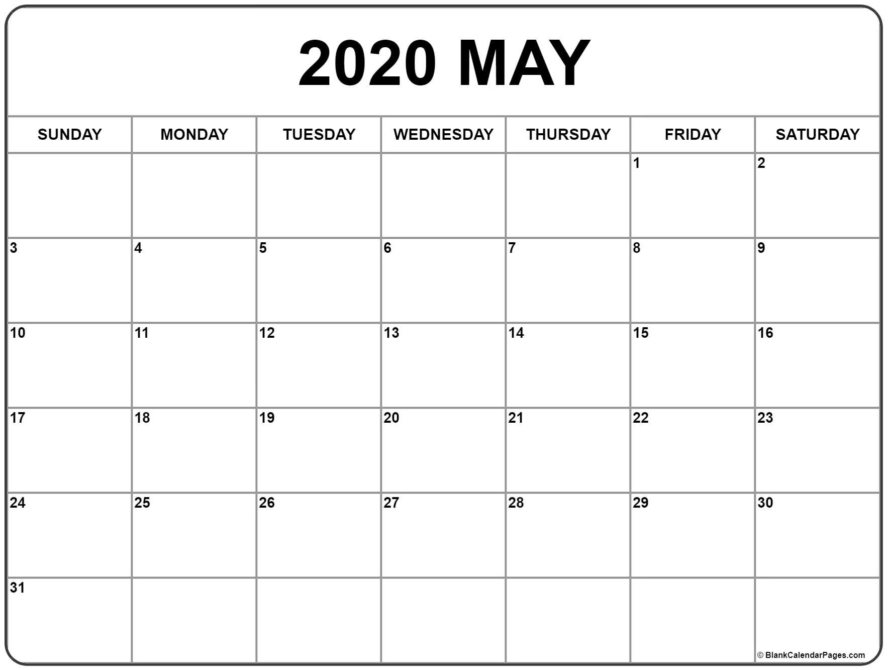 May 2020 Calendar | Free Printable Monthly Calendars  Free Printable 2020 Monthly Calendar