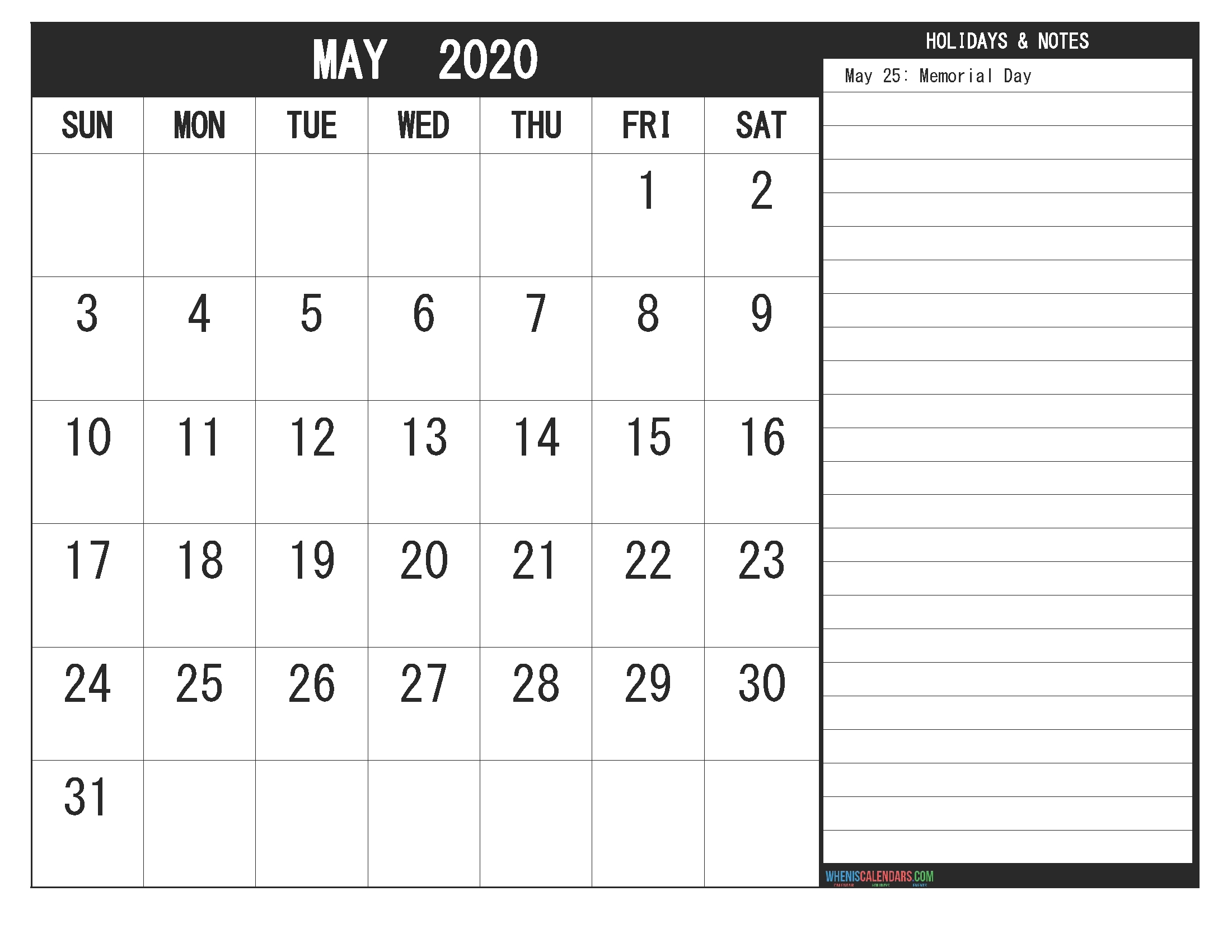 May 2020 Calendar With Holidays Free Printable | Free  Free Monthly Calendar Print Out 2020 With Holidays