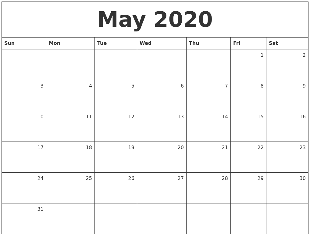 May 2020 Monthly Calendar  Monthly Calendar 2020