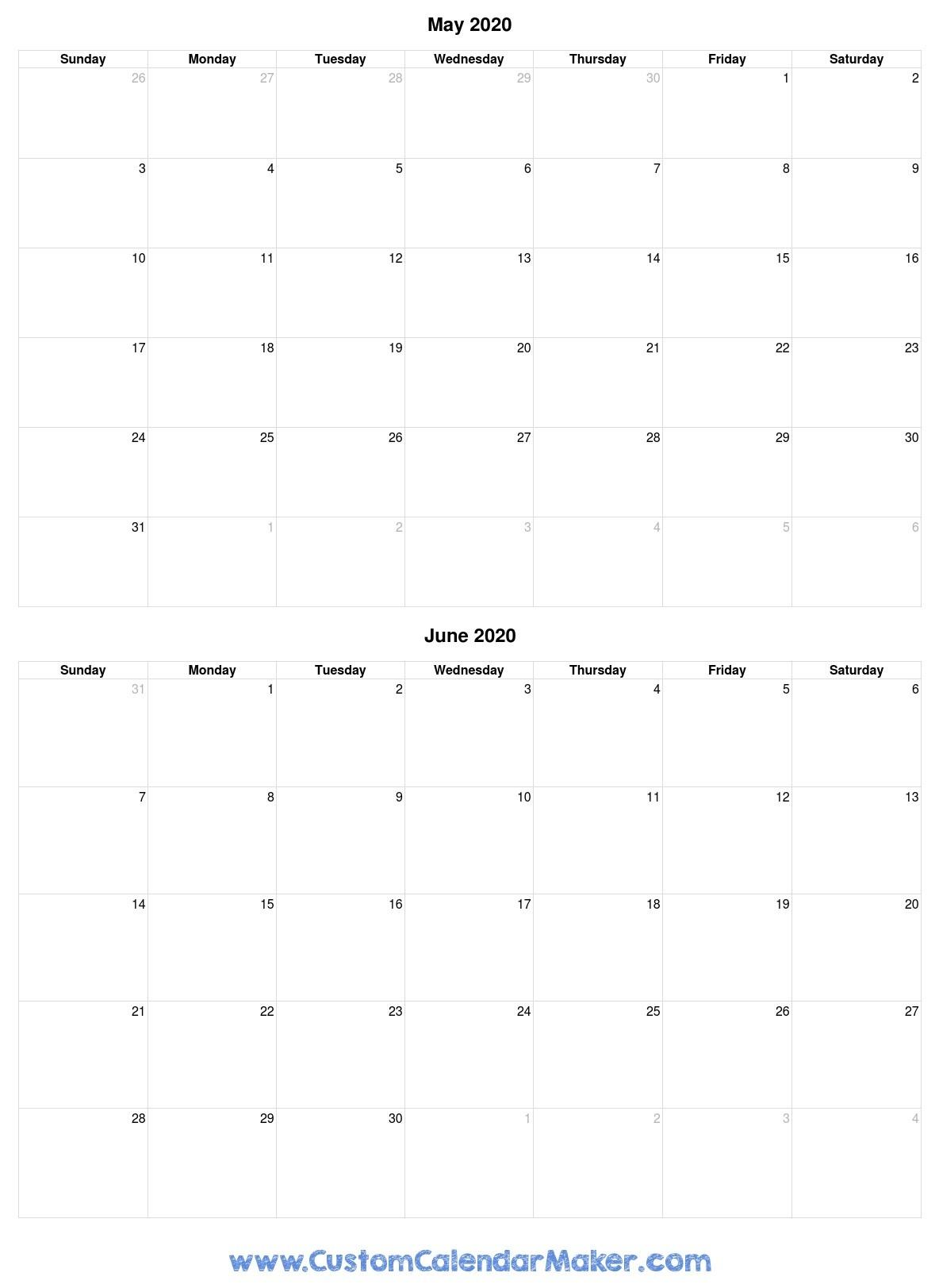 May And June 2020 Free Printable Calendar Template  2020 Calendar Template