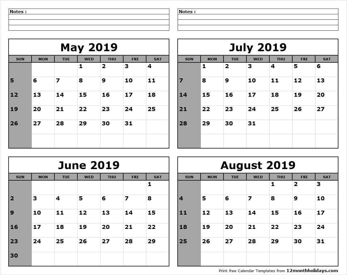 May-June-July-August-2019-Calendar-To-Print - All 12 Month  July 2021 12 Months